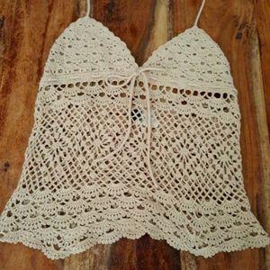 SOLD -Boho Festival Beige Crochet Halter Crop Top